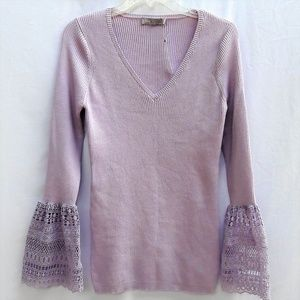 Asos Sweater Pullover V Fluted Lace Sleeve Cuffs M
